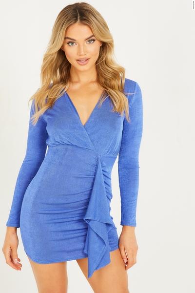 Blue One Shoulder Ruched Wrap Dress